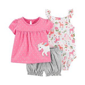 Baby Girl Carter's Unicorn Top, Bodysuit and Little Shorts Set