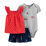 Baby Girl Carter's 3-Piece Cherry Top, Bodysuit and Little Shorts Set