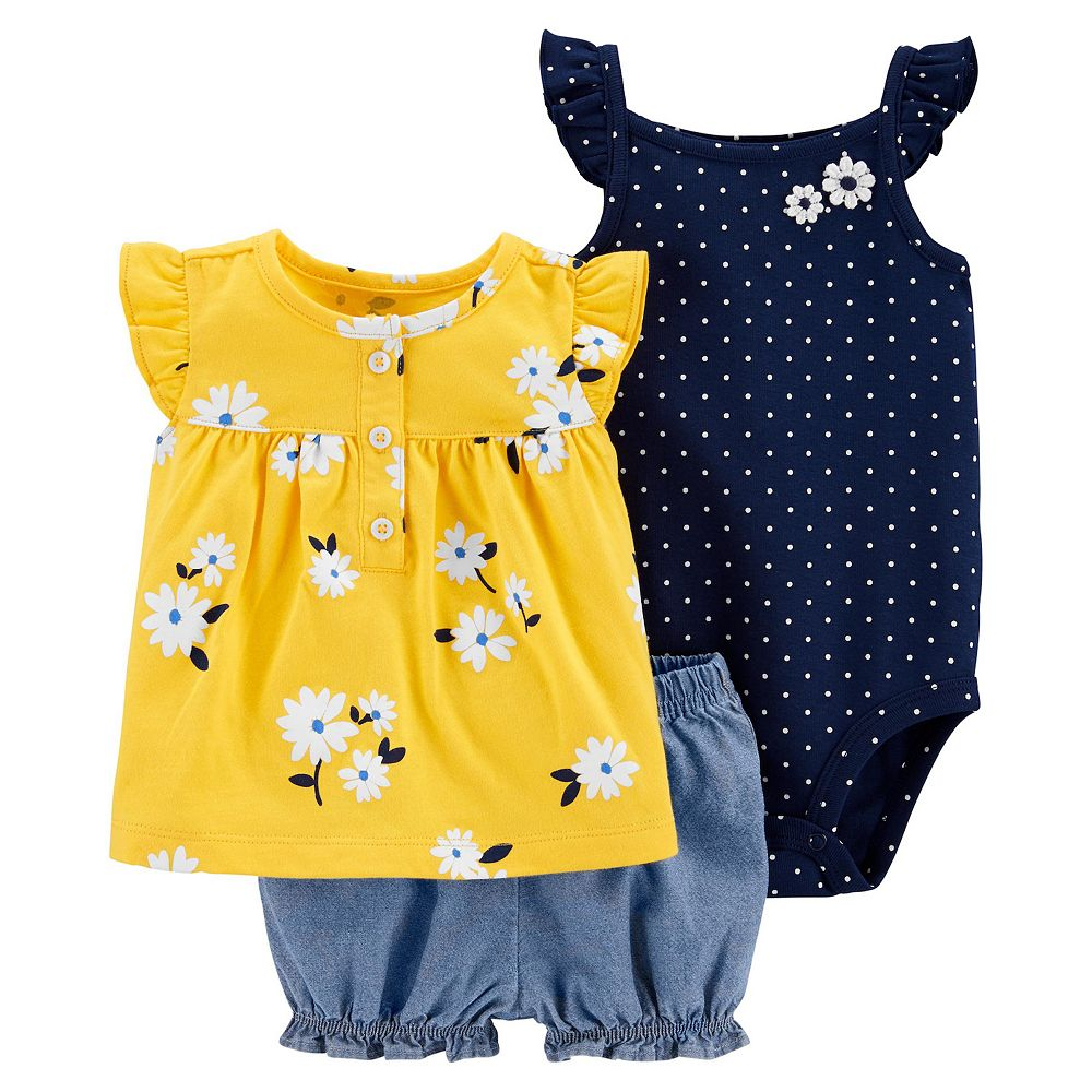 Baby Girl Carter's Floral Top, Bodysuit and Little Shorts Set