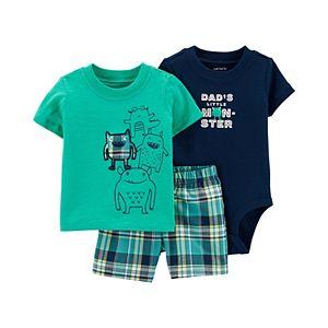 Baby Boy Carter's Monster Tee, Graphic Bodysuit & Plaid Shorts Set