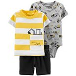 Baby Boy Carter's Construction Tee, Bodysuit & Shorts Set