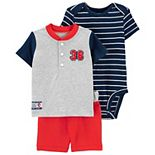 Baby Boy Carter's Baseball Tee, Striped Bodysuit & Shorts Set