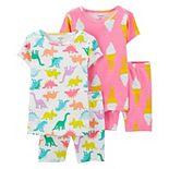 Toddler Girl Carter's 4 Piece Ice Cream Cones & Dinosaurs Pajama Set