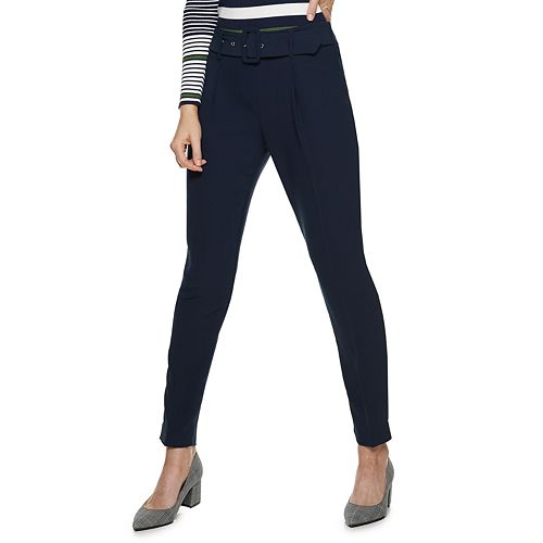 Women's Nine West Belted Tapered Carrot Pants