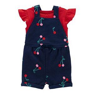 Baby Girl Carter's Flutter Tee & Cherry Shortalls Set