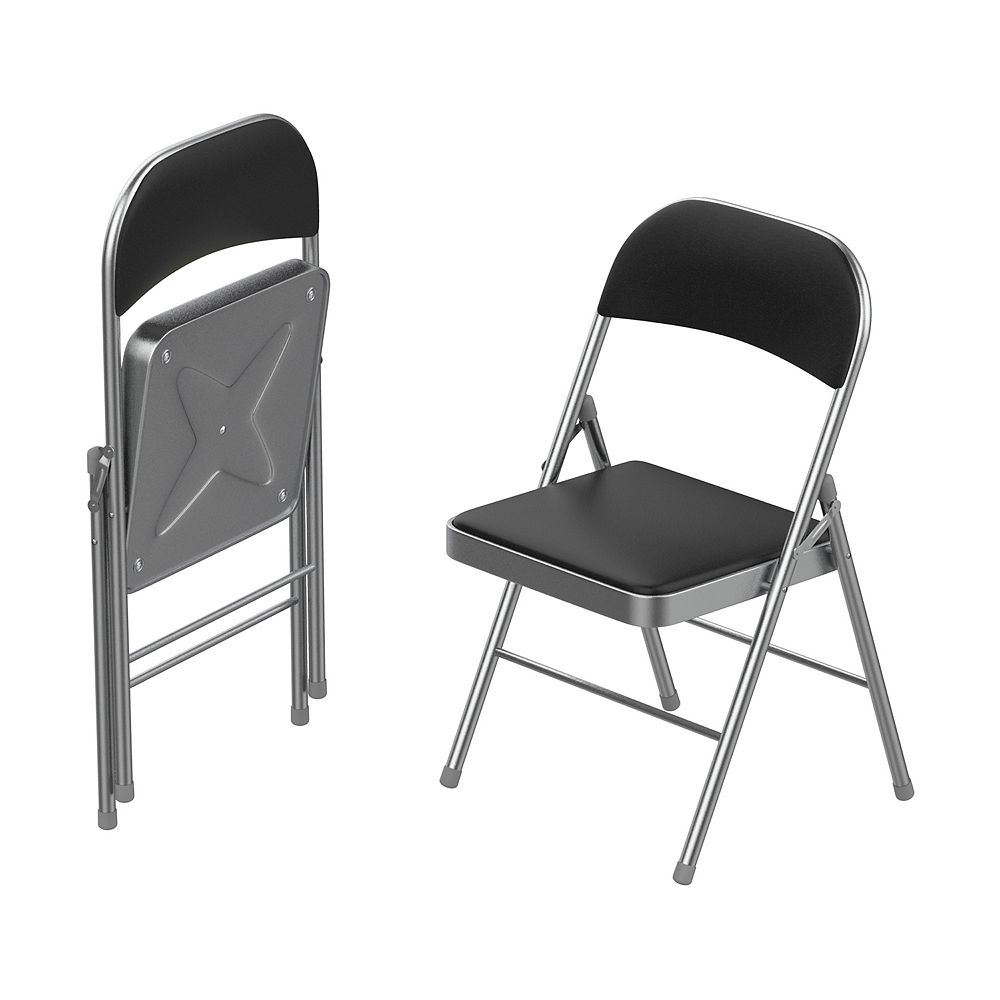 Lavish Home Black/Silver Folding Chairs