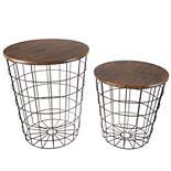 Lavish Home Round Metal Basket Storage Nesting End Tables
