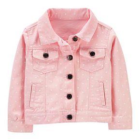 Toddler Girl Carter's Polka-Dot Twill Denim Jacket
