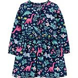 Toddler Girl Carter's Floral Dinosaur Sateen Dress