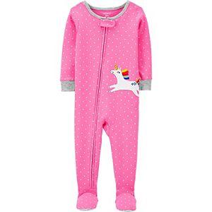 Baby Girl Carter's Unicorn Zip Footed Pajamas