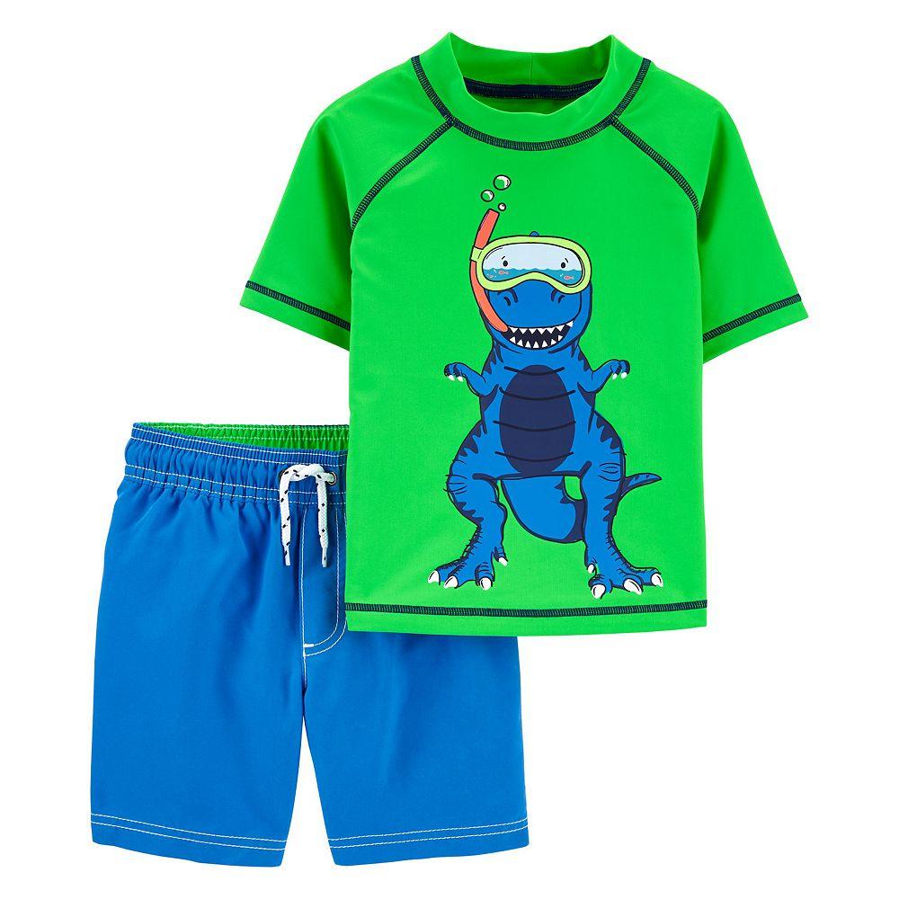 Toddler Boy Carter's Dinosaur Rash Guard Top & Swim Trunks Set