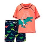Toddler Boy Carter's 2-Piece Dinosaur Rash Guard Top & Swim Trunks Set
