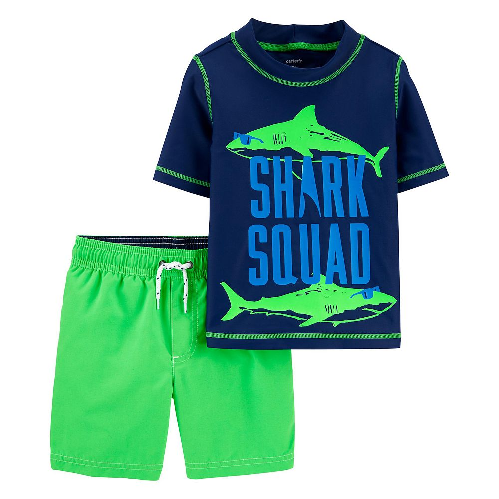 "Toddler Boy Carter's ""Shark Squard"" Rashguard Top & Swim Trunks Set"