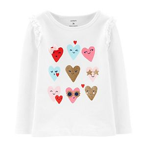 Toddler Girl Carter's Glitter Hearts Jersey Tee