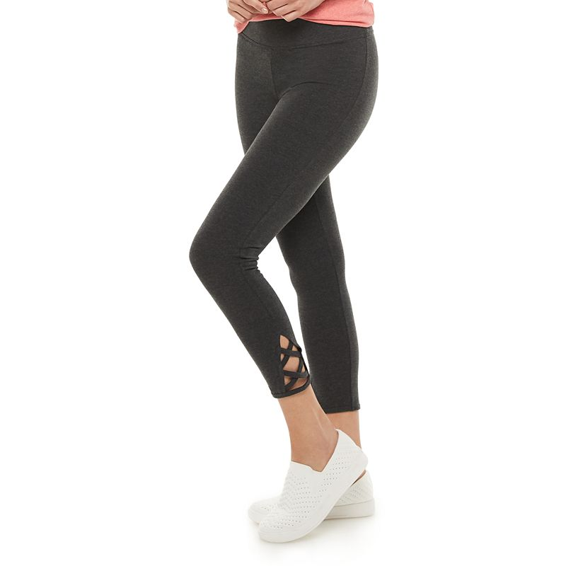 Women's Sonoma Goods For Life Legging with Lattice Hem. Size: Small. Dark Grey