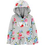 "Toddler Girl Carter's Floral ""Love"" Hooded Peplum Top"