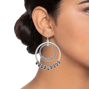 Women's Simply Vera Vera Wang Two Drop Hoop Earrings