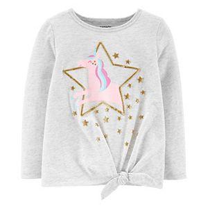 Toddler Girl Carter's Glitter Unicorn Tie-Front Tee