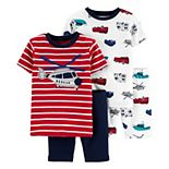 Toddler Boy Carter's 4 Piece Helicopter Rescue Vehicles Pajama Set