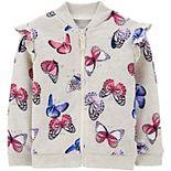 Toddler Girl Carter's Butterfly Zip-Up Fleece Jacket