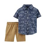 Baby Boy Carter's 2 Piece Chambray Airplane Button-Front Shirt & Canvas Shorts Set