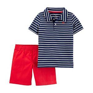Baby Boy Carter's 2 Piece Striped Slub Polo & Canvas Shorts Set