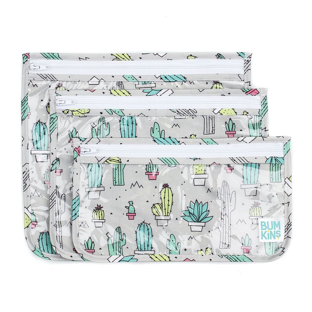 Bumkins Clear Cactus Print 3-Pack Travel Pouch Set