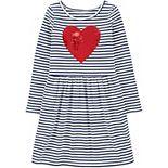 Girls 4-12 Carter's Flip Sequin Heart Striped Dress