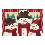 "St. Nicholas Square® Border Snowman Holiday Accent Rug - 19.5"" x 30"""