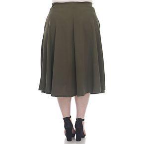 Plus Size White Mark Flare Midi Skirts