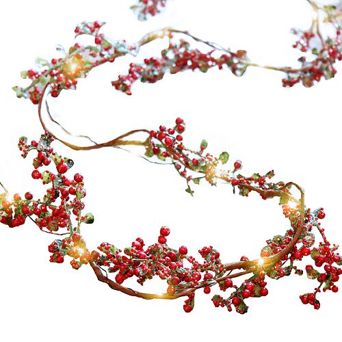 Manor Lane Red Berries Shimmer String Lights