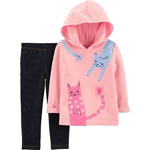 Baby Girl Carter's Cat French Terry Hoodie & Knit Denim Pant Set