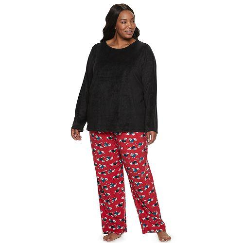 Plus Size Women's Croft & Barrow Microfleece Top & Bottom Sleepwear Set