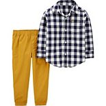 Toddler Boy Carter's Gingham Button-Front Shirt & Poplin Pants Set