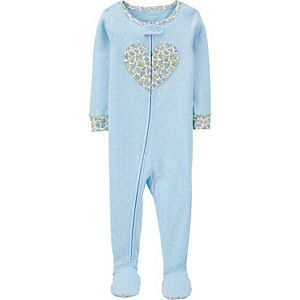 Baby Girl Carter's Floral Heart Zip Footed Pajamas