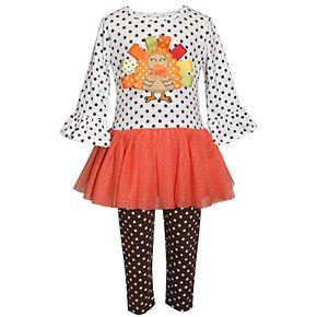 Toddler Girl Blueberi Boulevard Turkey Dress & Leggings Set