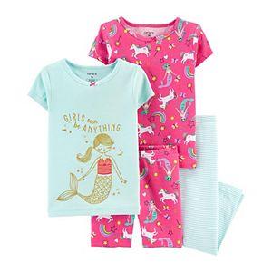 Toddler Girls Carter's 4-Piece Mermaid Pajama Set