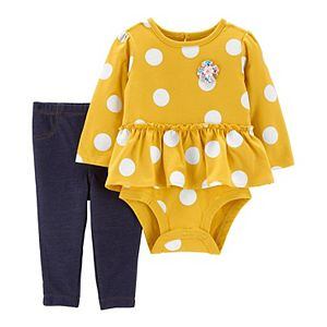 Baby Girl Carter's Polka Dot Peplum Bodysuit & Pants Set