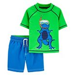 Baby Boy Carter's Color Changing Dinosaur Rash Guard Top & Swim Trunks Set