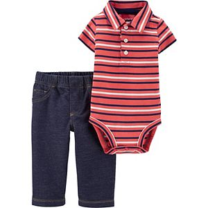 Baby Boy Carter's 2-Piece Striped Polo Romper and Pant Set