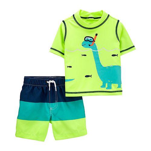 Baby Boy Carter's 2-Piece Scuba Dinosaur Rash Guard Top & Swim Trunks Set