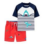 Baby Boy Carter's Shark Striped Rash Guard Top & Swim Trunks Set