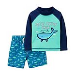 "Baby Boy Carter's 2-Piece ""Local Cutie Crew"" Whale Rash Guard Top & Swim Trunks Set"