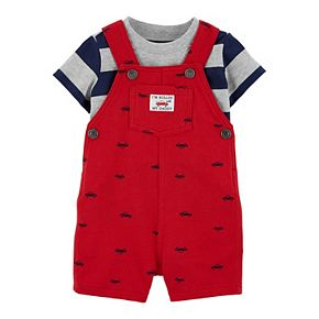 Baby Boy Carter's 2 Piece Striped Tee & Car Shortalls Set