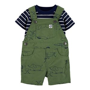 Baby Boy Carter's 2 Piece Striped Tee & Animals Shortalls Set