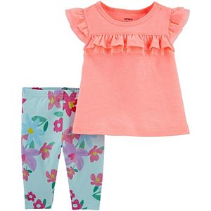 Baby Girl Carter's Ruffle Jersey Top & Floral Capri Legging Set