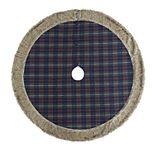 Scott Living Luxe Plaid Faux Fur Trim Christmas Tree Skirt