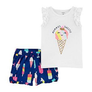 Baby Girl Carter's 2-Piece Ice Cream Tee & Shorts Set