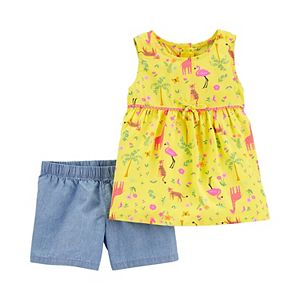 Baby Girl Carter's 2-Piece Jungle Poplin Tank & Chambray Short Set