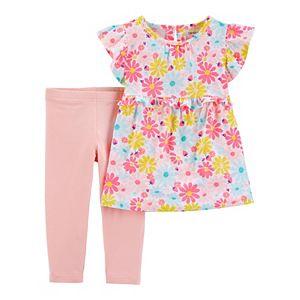 Baby Girl Carter's 2-Piece Floral Ruffle Top & Legging Set